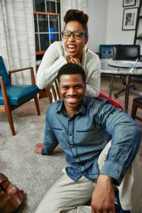 African American couple smiling and having fun after their marriage therapy session in Katy, TX 77494